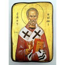 Icon of St. Nicolas, Greek Russian Christian Orthodox, Agios Nikolaos, Wood A0