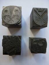 Vier Alte Prägematritze Druckmatritze Druckstempel Wappen/Siegel u.a.Handwerk #2
