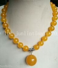 10mm Yellow South American Gemstone Topaz Necklace (20mm Pendant) Bead 18'' AAA
