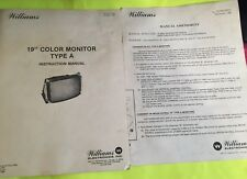 """Williams 19"""" Color Monitor Type A & B Instruction Manual with Schematics Service"""