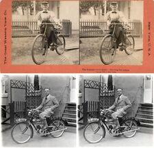 20 Stereofotos, Menschen mit uralten Fahrrädern um 1880, Lot 1, Bicycle Vélo