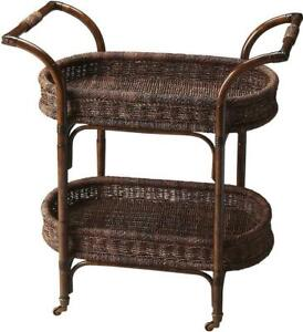 SERVING CART KITCHEN CONTEMPORARY OVAL DESIGNER'S EDGE DISTRESSED BROWN TAN