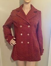 M red/orange NWT TWILL KNIT DOUBLE BREASTED LINED coat by TULLE