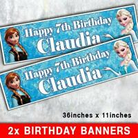 """2 PERSONALISED FROZEN BANNER 3ft - 36 """"x 11"""" PARTY, BIRTHDAY - ANY NAME ANY AGE"""