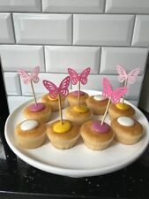 ❤️ 12 X Pink Princess Party / Baby Shower Butterfly fairy cake cupcake toppers