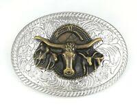 argent cowboy western rodeo tête de taureau homme femme boucle de ceinture