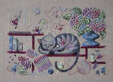 Knitting Cat Cross Stitch Chart & 9 Dinky Dyes Silk Hand Dyed Thread Skeins-Fili