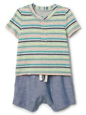 NWT - Boys Baby Gap GAP Henley 2-in-1 Short One Piece Short Romper  12-18 Months