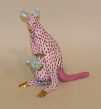 Herend Raspberry Pink Fishnet & Gold Kangaroo with Green Joey Figurine 15328