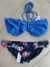 Seafolly Bikini 8 China Blue DD U-Tube Bandeau & Rococo Rose Ruch Side Pant $155