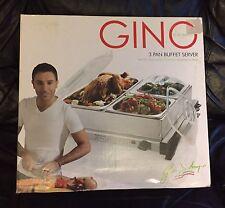 RARE GINO D'ACAMPO 3 PAN BUFFET SERVER Hostess Christmas Party Hot-Plate