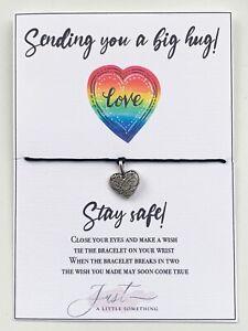 Sending Hug inspirational Wish bracelet thoughtful lockdown isolation gift