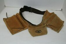 CLC #1370X3 Genuine Leather Tool Belt Pocketed Work - Parachute Snap Buckles