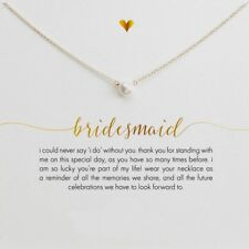 BRIDESMAID Wedding Gift,  Pearl & Gold Necklace  on a Message Card  UK SELLER