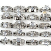 5 x Women Silver Stainless Steel Wholesale Bulk Lots Mixed Crystal Rings Jewelry