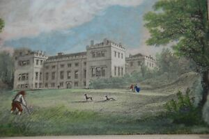 1842 WHITEHAVEN CASTLE.  ANTIQUE PRINT. HAND COLOURED