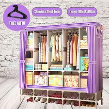 "70""Large Portable Clothes Closet Canvas Wardrobe Storage Organizer with Shelves"