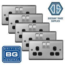 5x BG Nexus Double Socket Brushed Steel Satin Chrome Black Insert NBS22B 2 Gang