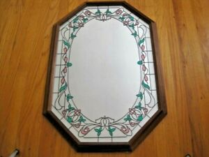 "WOOD FRAMED OCTAGON MIRROR WITH WALL FLORAL DESIGN - Large 30 ¾"" X 20 ¾"""