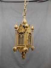 Antique Wrought Iron Victorian Gothic Pendant Ceiling Light Fixture Vtg 723-16