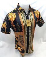 Mens PREMIERE Short Sleeve Button Down Dress Shirt Black GOLD LEAF DESIGN SS-003