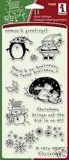 Inkadinkado Clear Stamps CHRISTMAS CHARACTERS Santa Snowman Polar Bear Snow