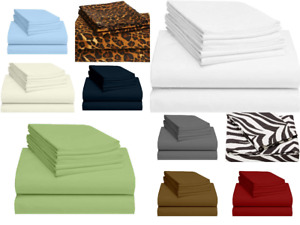 100% Egyptian Cotton Bed Sheet Set 800 Tc Queen/King All Size Solid Sheets
