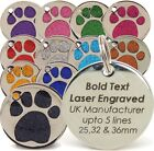 Personalised Engraved Glitter Paw Print Pet Tags, 3 sizes 25, 32 & 36mm Dog, Cat <br/> ✅Laser Engraved ✅Top UK seller ✅ Over 30,000 sold