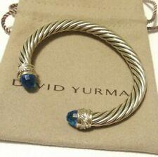 David Yurman 7mm Crossover Sterling Silver Bracelet Blue Topaz & Diamond Medium