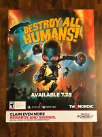 """DESTROY ALL HUMANS! AUTHENTIC GAMESTOP PROMOTIONAL """"28x 22"""" POSTER +FREE SHIP🔥"""