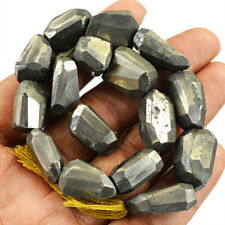 365.00 Cts / 9 Inches Natural Untreated Drilled Pyrite Faceted Beads Strand
