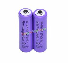 2x AA 1.2V 3000mAh Ni-MH rechargeable battery 2A cell /RC Purple