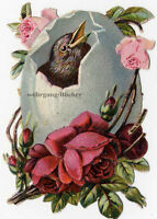 Vintage Victorian die cut paper scrap, Easter egg with bird from ca. 1880