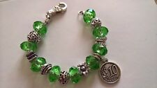 Bracciale handmade in stile pandor verde perle foro largo in vetro