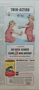 1944 Old Dutch cleanser girls pink polka dot pajamas cleaning bathtub ad