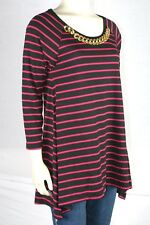 August Silk Black Pink Stripe Chain Embellished Knit Top Small 4 6