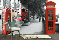 3D Retro Red Telephone Booth View Self-adhesive TV Background Mural Wallpaper
