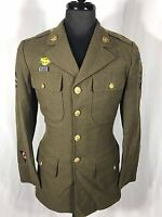 WWII Army Air Force Military Wool Tunic Jacket with lots of patches and Pins 38R