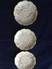 Theodore Haviland Limoges France Pink Green Floral Scallop Gold Trim 3 Saucers