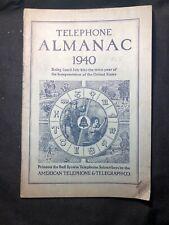 Vintage 1940 TELEPHONE ALMANAC Bell System American Telephone Telegraph Co. RARE
