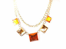 LADIES CHUNKY ORANGE BROWN STONE GOLDEN STATEMENT NECKLACE NEW UNIQUE (ST96)