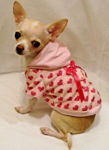 Dog Hoodie/Dog Clothes/Chihuahua/Minky Heart Dog Hoodie FREE SHIP SIZE MED.-ONLY