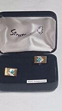 Stratton of London Rectangular Cufflinks Boxed Gem Stone Turquoise No31