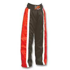 Full Contact Champion Satin Trousers Black/Red Stripes Kick Boxing Pants Bottoms