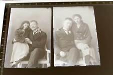 zwei tolle alte Glasnegative - Vater mit seinen  hübschen Töchtern