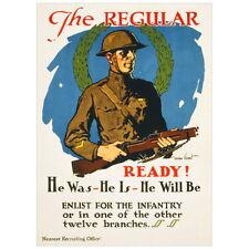 Regular Enlist For Infantry Recruiting Poster Deco FRIDGE MAGNET, 1914 World War