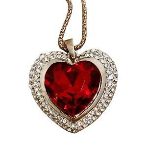 Betsey Johnson | NWT Large Red Rhinestone Heart Rose Gold Tone Statement Necklac
