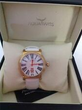 AQUASWISS SWISS MOVEMENT BRAND NEW WHITE LEATHER DL0781 DATE WATCH