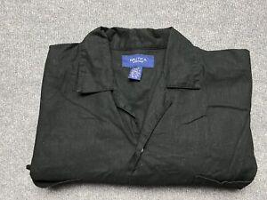 Nautica Sleepwear Shirt Mens Medium Short Sleeve Button Up Relaxed Fit Linen