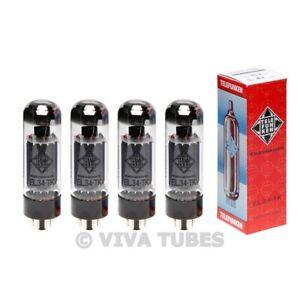 New Ip & Gm Matched Quad (4) Telefunken Reissue EL34 Vacuum Tubes Black Diamond